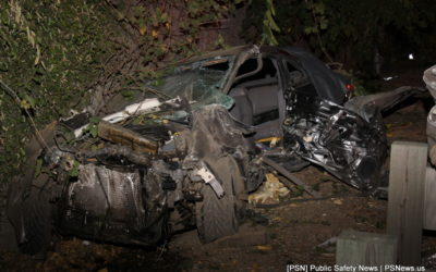 Car Crashes Into Guardrail On Highway 99