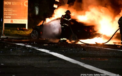 Two Cars Crash, One Bursting Into Flames Overnight