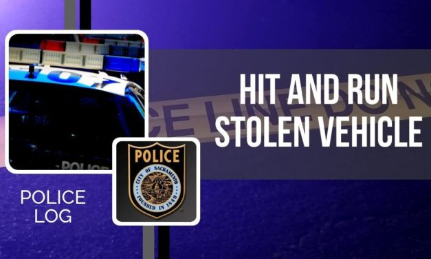 POLICE LOG: Hit and Run with Stolen Vehicle, South Sacramento